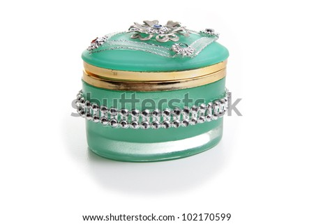 Small jewelry box made with  a material similar to jade