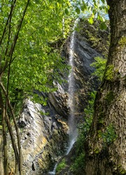 Small jungle waterfall cascade in forest with trees surrounded by moss. Forest waterfall in mountains. Mountain forest waterfall landscape.