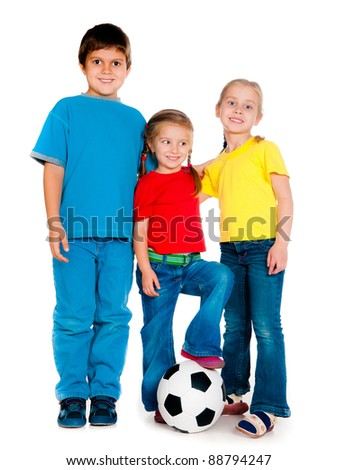 Small kids with soccer ball isolated on white