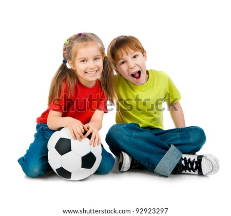 Small kids with soccer ball on white background