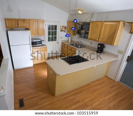 Small kitchen with fake wooden floors on the Blue Ridge