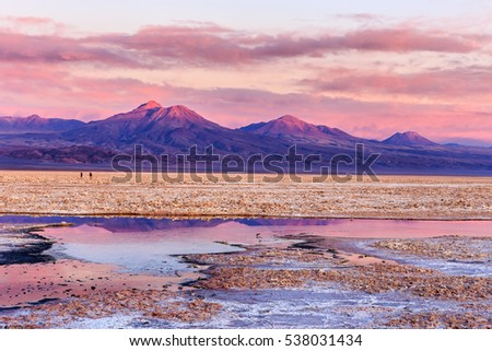 Small lagoons in foreground and mountains in background. It was a colorful sunset on Salar de Atacama, Atacama, Chile