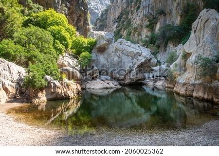 Small lake in the Torrent de Pareis gorge. Sa Calobra. Mallorca. Foto stock ©