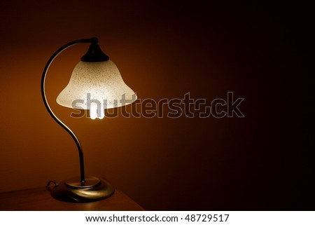 Small lamp glowing in the evening - stock photo
