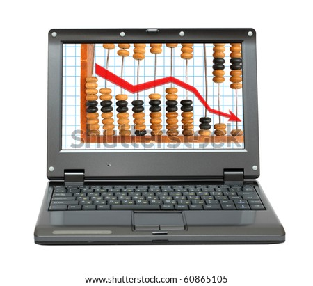 small laptop with decrease diagram and abacus - stock photo