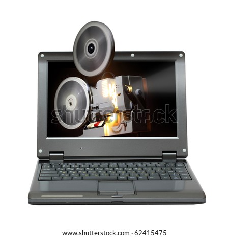 small laptop with old projector showing film