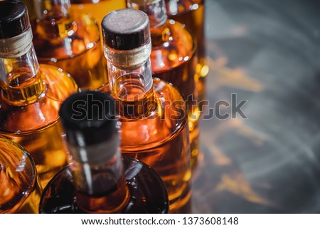 Small liquor production based on maple syrup. Multitude of pure alcohol bottles  not labeled. Bottles placed in a row. Foto stock ©