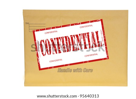 small manila envelope stamped confidential with clipping path at original size