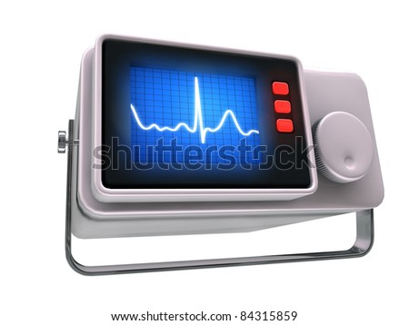 small medical monitor isolated on white background