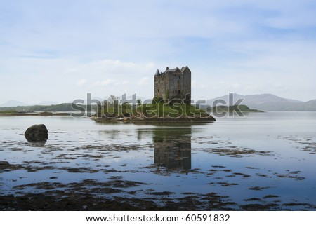 small medieval castle stalker on small island in loch linnhe argyll in the scottish highlands