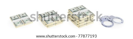 Small, medium, large dollar packs and handcuff. Bride is the way to prison concept. 3d rendered. Isolated on white.