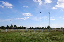 Small meteorological observing station in Ryazan region of Russia. Sunny summer view.
