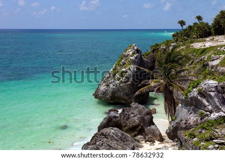 small Mexico beach at Tulum ruins, Yucatan