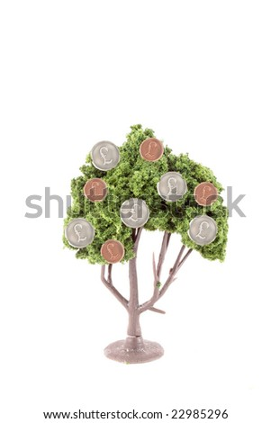 small miniature tree growing silver and copper British pound symbol  coins isolated on a white background... guess money does grow on trees