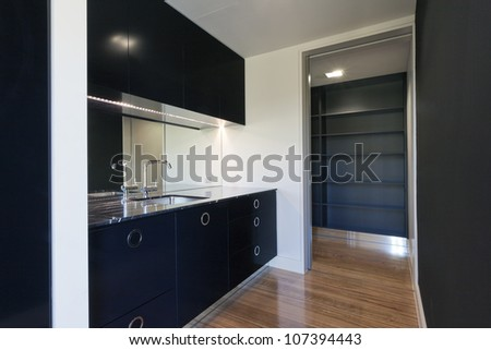 Small modern black kitchen