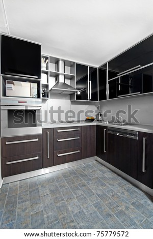 Kitchen on Small Modern Kitchen In Black And Wenge Colors Stock Photo 75779572