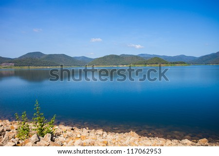 small mountain lake in the day