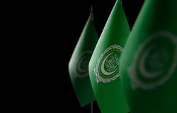 Small national flags of the Arab League on a black background