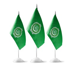 Small national flags of the Arab League on a white background