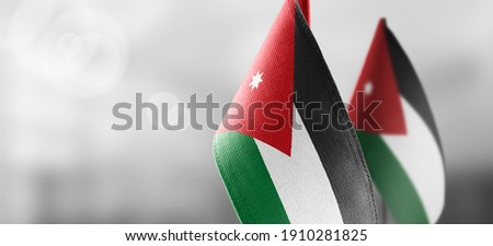 Small national flags of the Jordan on a light blurry background Stock photo ©