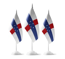 Small national flags of the Netherlands Antilles on a white background
