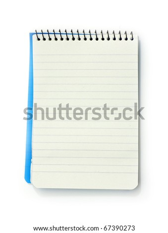small notebook with blank lined pages, with room for your text,  isolated on white