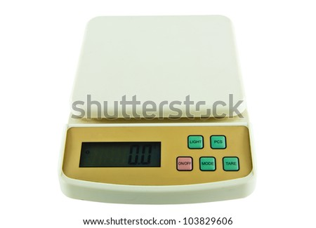Small Object Weighing Digital Scales On Isolated White Background
