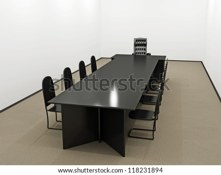 Small office with a table and chairs - stock photo