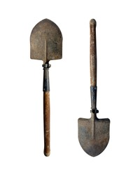 Small old folding shovel on a white isolated background