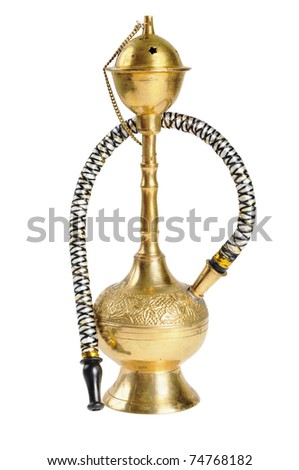 Small old hookah. Isolated on white.