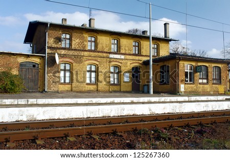 Small, old railway station, Poland