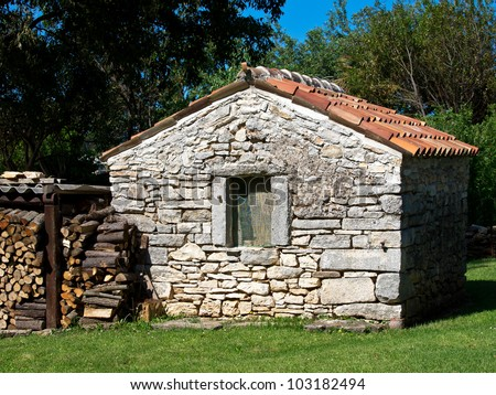 Small Old Stone House With Fire Wood Stock Photo 103182494 ...