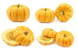 Small orange pumpkins on a white background