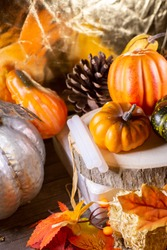 Small orange pumpkins, orange squash, pinecones, a green squash, and glue sticks for crafting on wood stacked on leaf-covered hay next to a silver pumpkin with a golden background