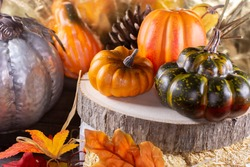 Small orange pumpkins, orange squash, pinecones, and green squash on wood stacked on leaf-covered hay with a golden background, next to a silver pumpkin nearby