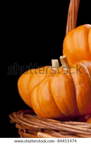 Small orange pumpkins symbolising autumn holidays and used in decorative works.