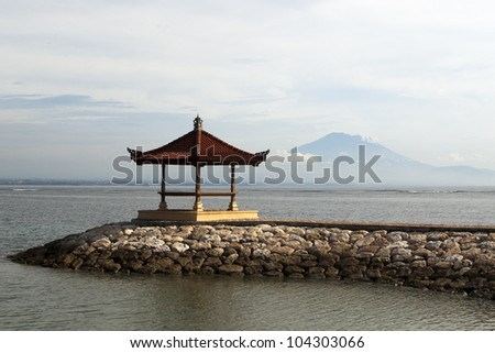 Small pagoda and mountain in remoteness in Bali