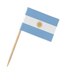 Small paper Argentinian flag on wooden stick, isolated on white