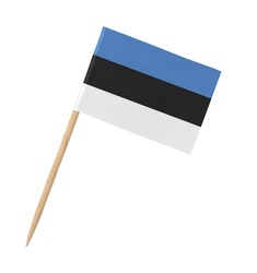 Small paper Estonian flag on wooden stick, isolated on white