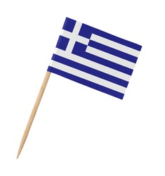 Small paper Greek flag on wooden stick, isolated on white