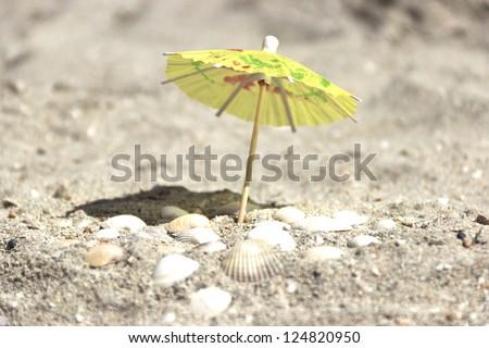 Small paper umbrella on the beach near the sea shells - stock photo