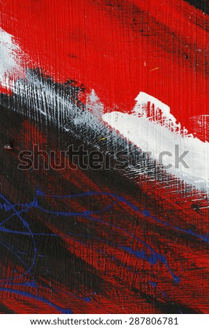 Small part of painted metal wall with  black,red and white paint  - Colourful abstract background-Close up 9