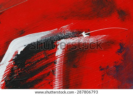 Small part of painted metal wall with  black,red and white paint  - Colourful abstract background-Close up 5