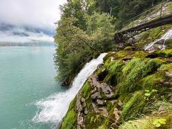 Small pedestrian bridges over the Giessbach stream and between the waterfalls Giessbach Falls (Giessbachfälle oder Giessbachfaelle), Brienz - Canton of Bern, Switzerland / Kanton Bern, Schweiz
