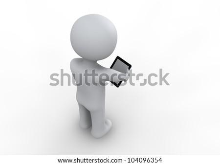 small people with tablet