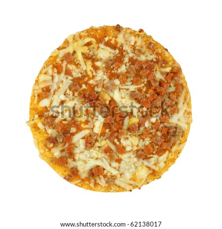 Small personal sized cooked pepperoni pizza on a white background.