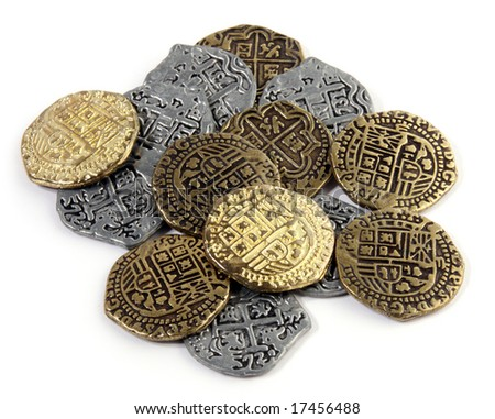 Small pile of Doubloons and Reales.