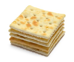 Small Pile of Saltine Crackers Isolated on White.