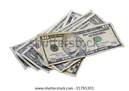Small pile of various American money isolated on white with a clipping path