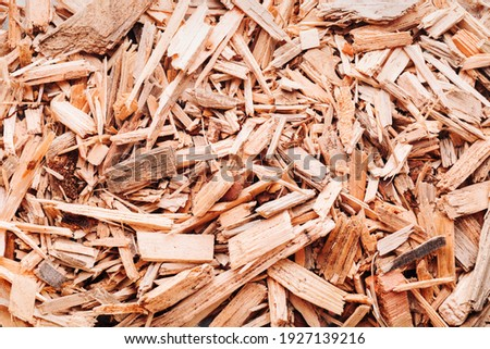 Small pile of wood chips background, top view. Waste from the woodworking industry, fuel and raw materials for heating solid fuel industrial boilers on wood chips ストックフォト ©